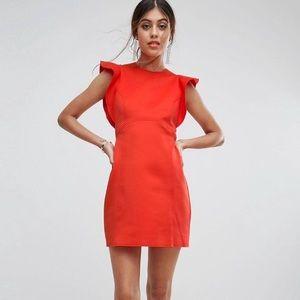 ASOS Scuba Skater Mini Dress with Frill Detail